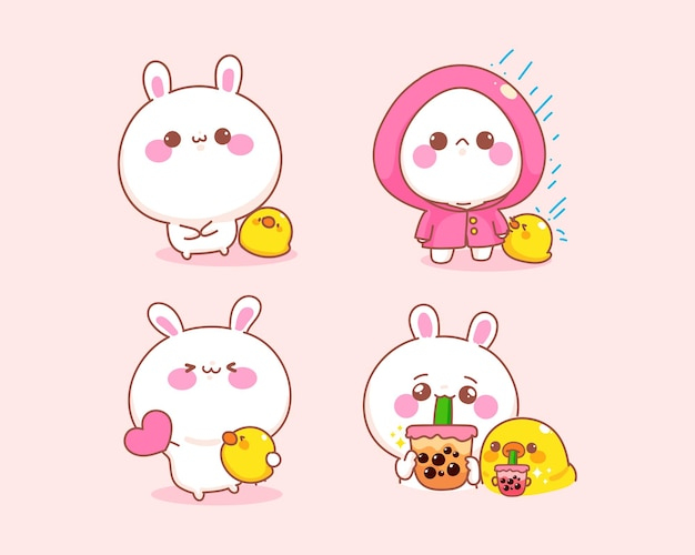 Set of cute rabbit with duck different posture cartoon illustration Free Vector