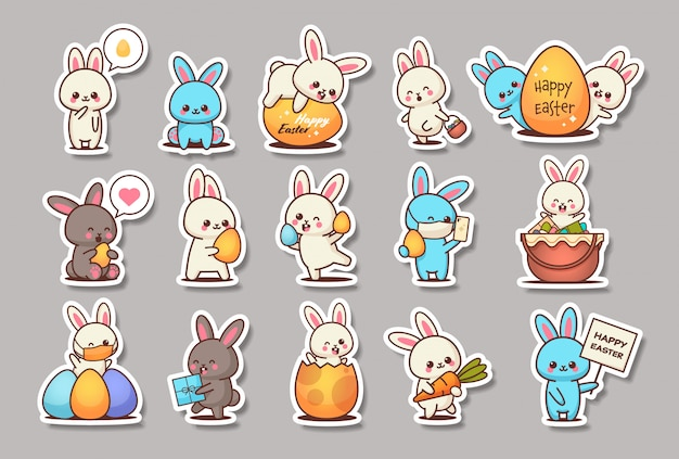 Set cute rabbits happy easter bunnies stickers collection spring holiday concept horizontal Premium Vector
