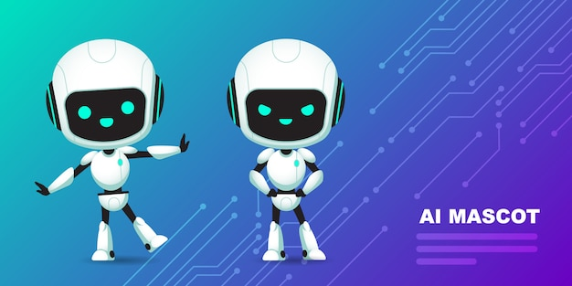 Set of cute robot ai character with circuits background Premium Vector