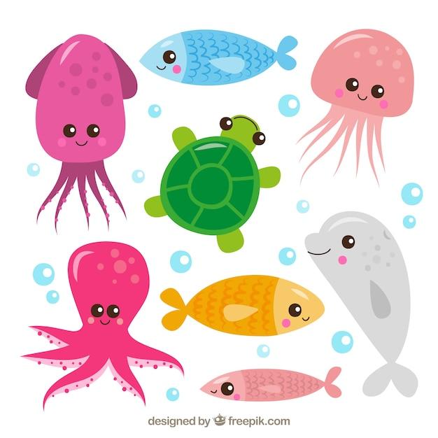 Set of cute sea animals Premium Vector
