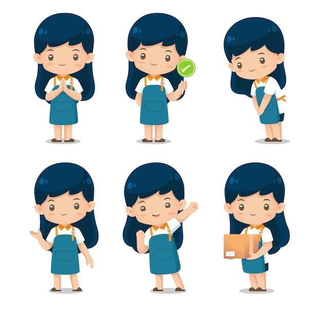 Set of cute shop assistante character mascot in apron uniform illustration Premium Vector