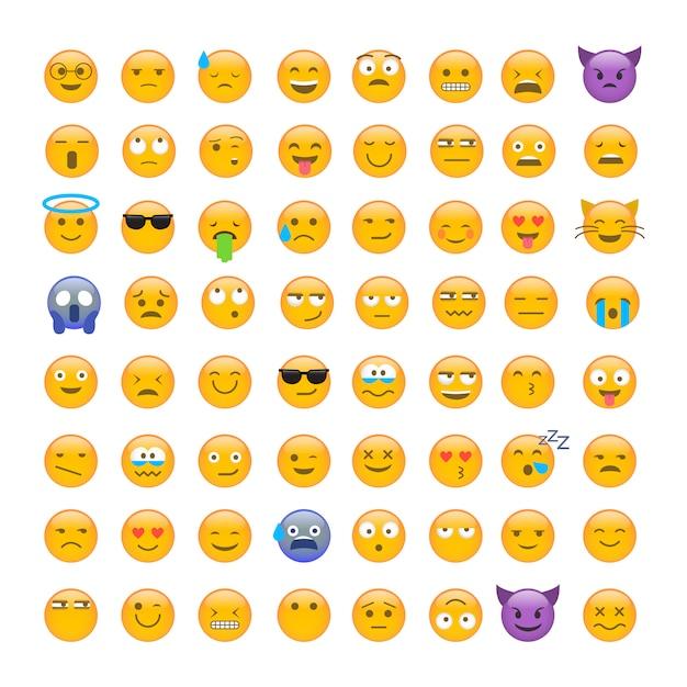 Set of cute smiley emoticons Premium Vector