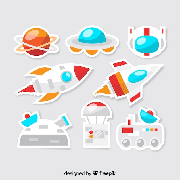 Set of cute space stickers Free Vector