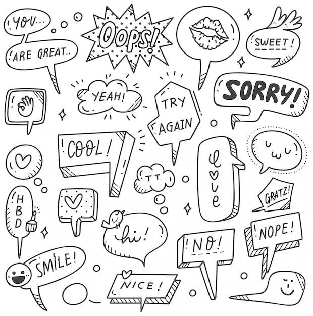 Set of cute speech bubble in doodle style Premium Vector