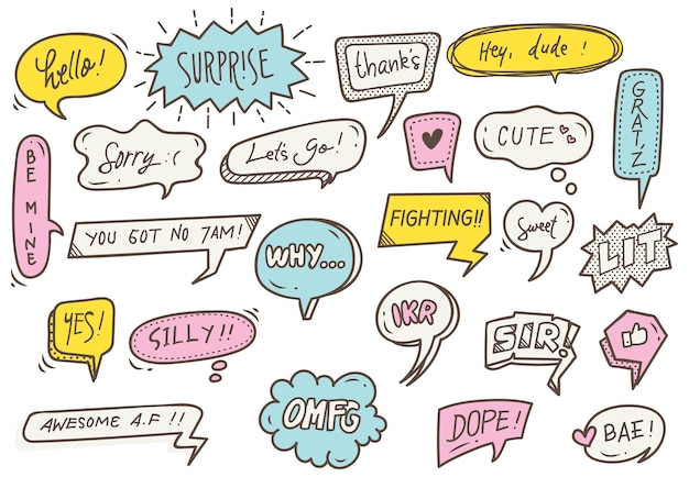 Set of cute speech bubble with text in doodle style Premium Vector