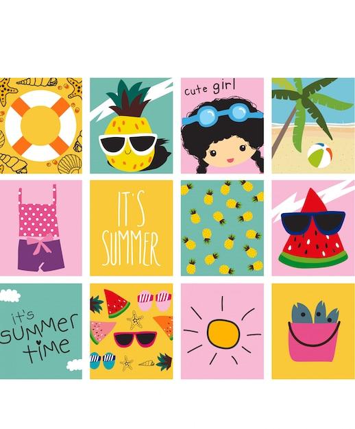 Set of cute summer cards Premium Vector