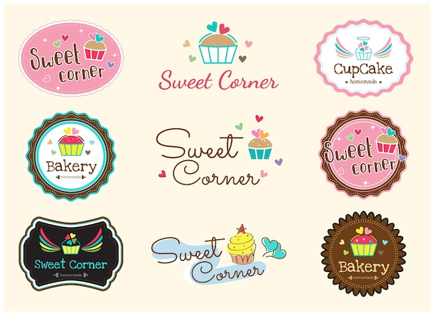 Set of cute sweet bakery badge label and logo Premium Vector