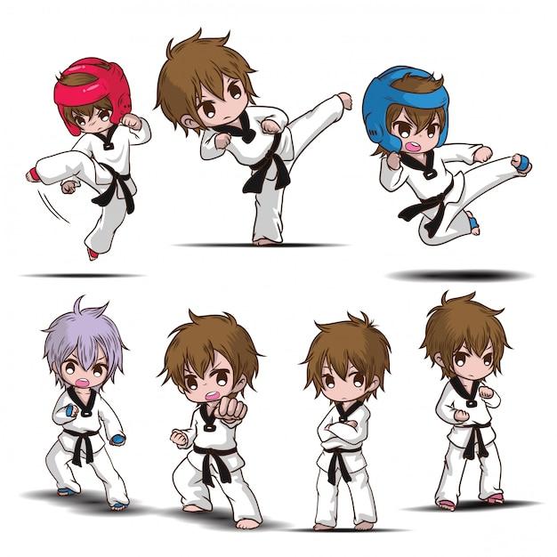 Set cute taekwondo boy cartoon character. Premium Vector