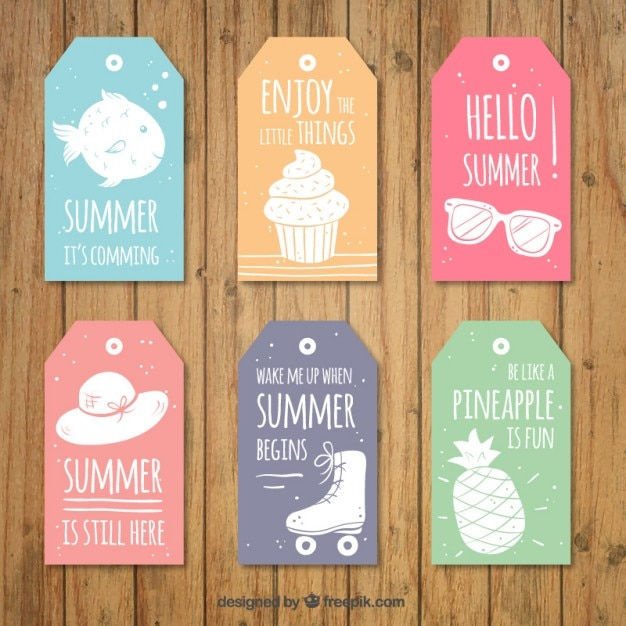 Set of cute tags with lovely summer phrases Vector   Free