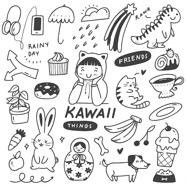 Set of cute things doodles Premium Vector