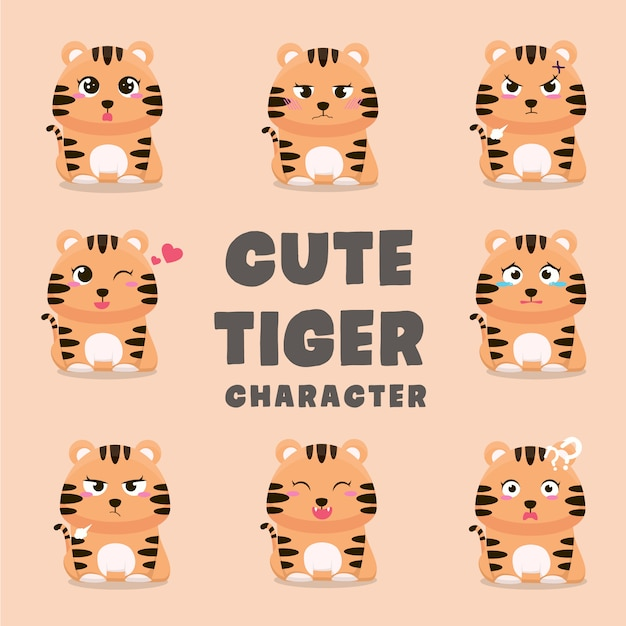 Set of cute tiger cartoon characters Premium Vector