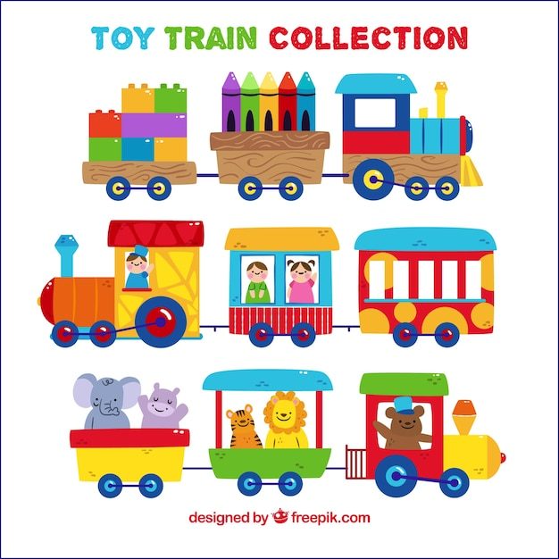 Set of cute toy trains with characters Free Vector