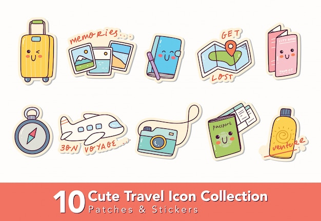 Set of cute travel icon patches and sticker Premium Vector