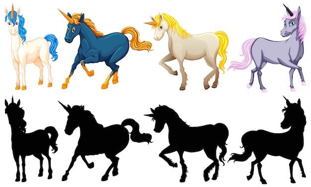 Set of cute unicorn cartoon character Free Vector