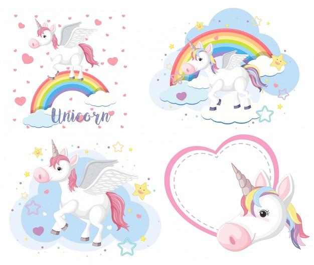 Set of cute unicorn or pegasus in pastel color isoalted Premium Vector