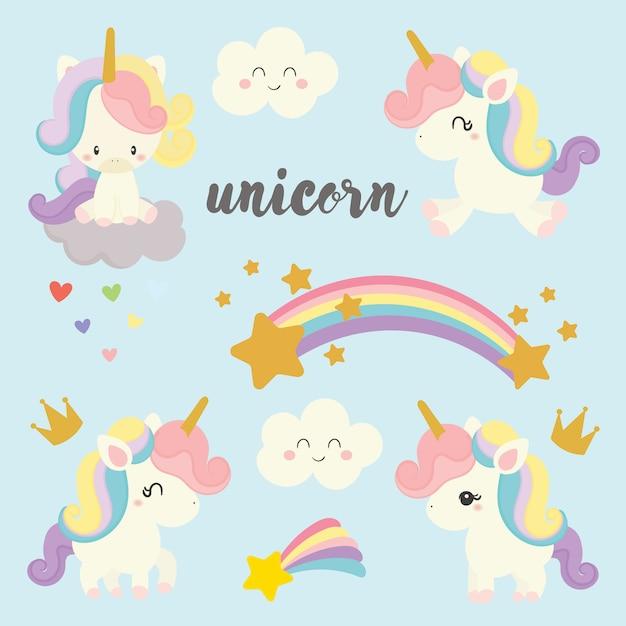 Set of cute unicorn. Premium Vector