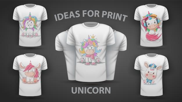 Set cute unicorn Premium Vector