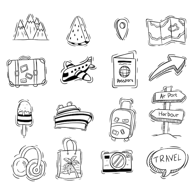 Set of cute vacation or travel icons with doodle style Premium Vector