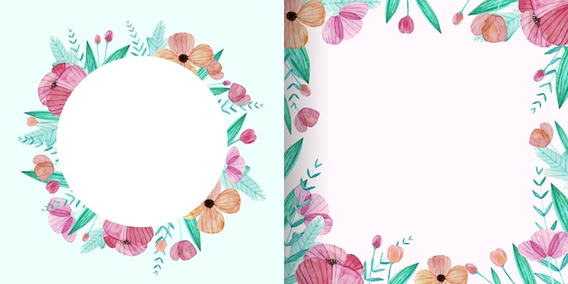 Set of cute watercolor flower frame in pastel color Free Vector