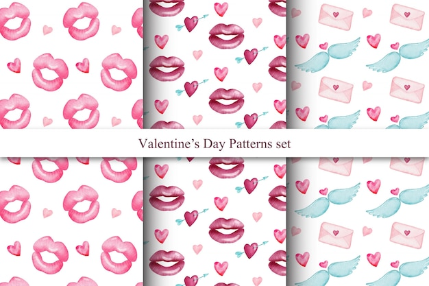 Set of cute watercolor valentine's day seamless patterns Premium Vector