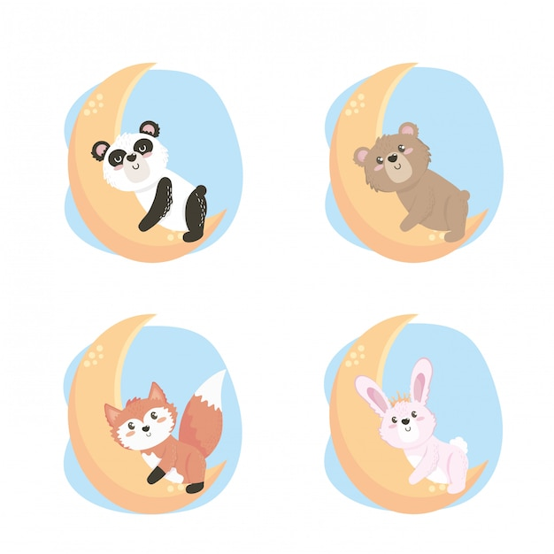 Set of cute wild animals in the moon Free Vector