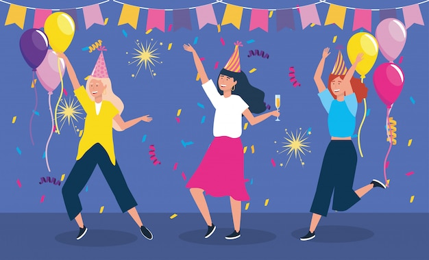 Set of cute women dancing with party hat Free Vector