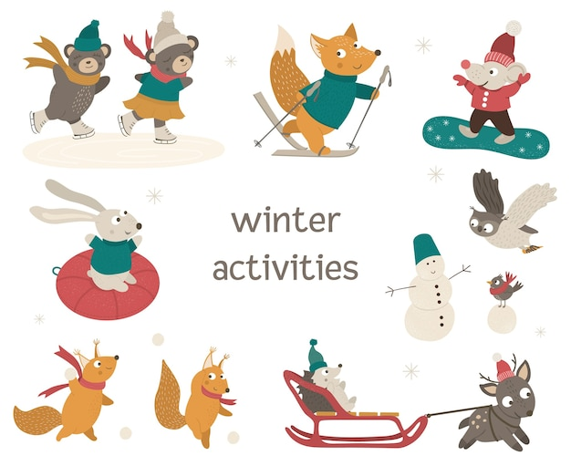 Set of cute woodland animals doing winter activities. funny characters with ski, skates, sleigh, snowboard, snowman. Premium Vector