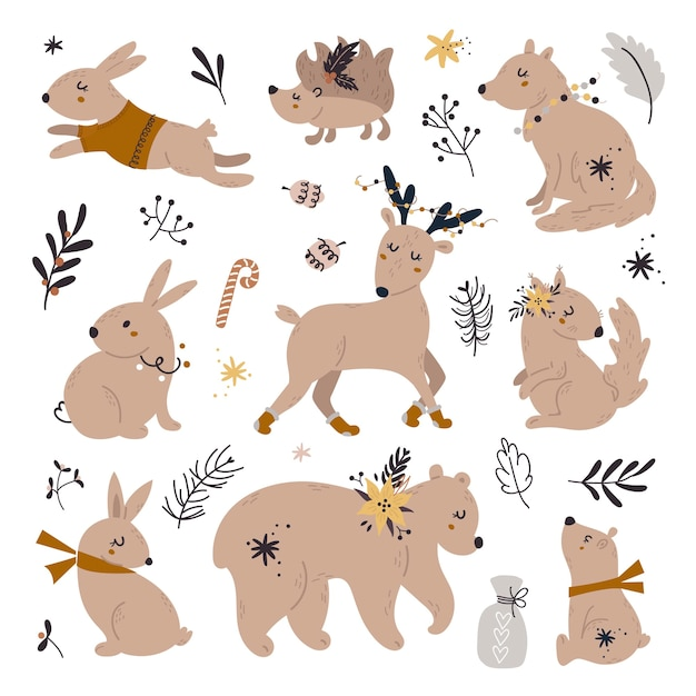 Set of cute woodland animals packing with christmas decorations. Premium Vector