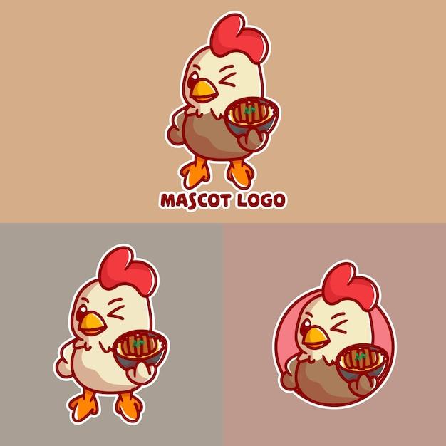 Set of cutechicken katsu mascot logo with optional apprearance. Premium Vector