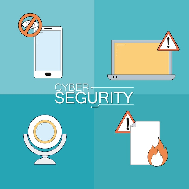 Set of cyber security icons collection Premium Vector