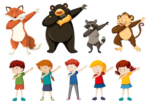 Set of dabbing people and animals Free Vector