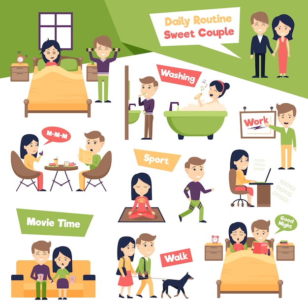 Set of daily people illustration Free Vector