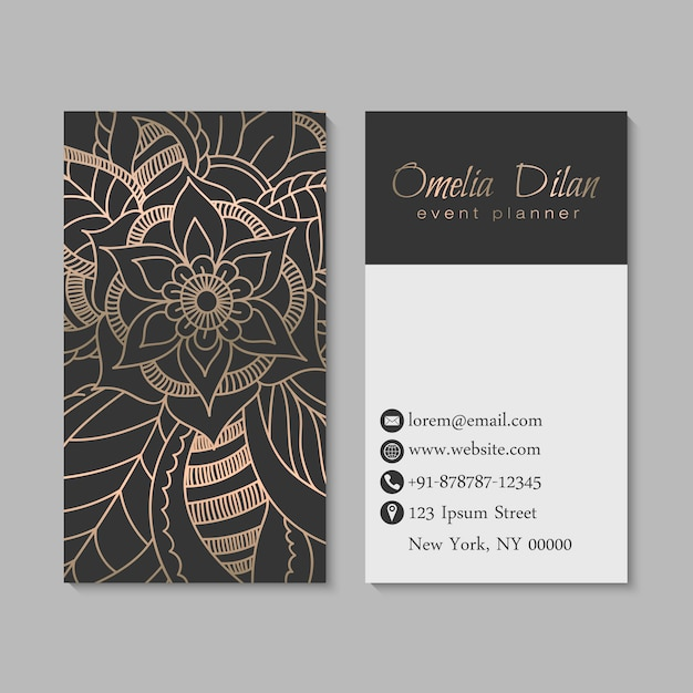 Set of dark and golden business card with zentangle hand drawn flowers. Free Vector