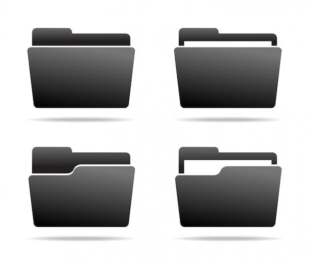 Set of dark grey folder icons.  . Premium Vector