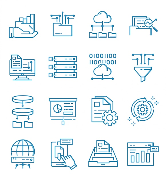 Set of data analysis icons with outline style Premium Vector