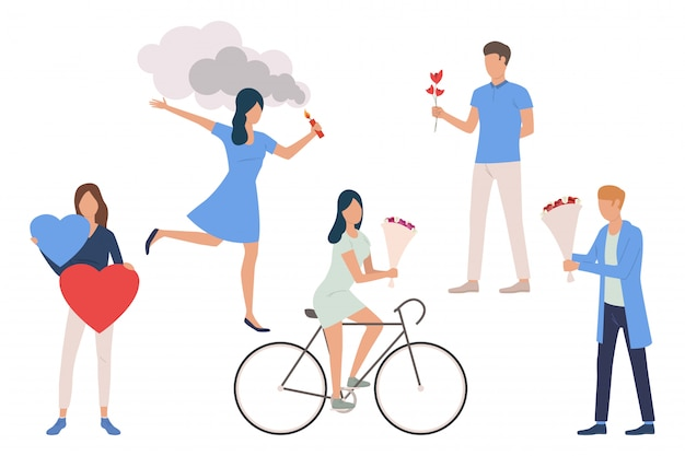 Set of dating couples Free Vector