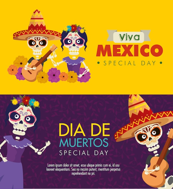 Set day of the dead celebration with skeleton and catrina banner Free Vector