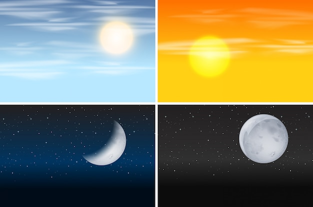 Set of day and night scenes Free Vector