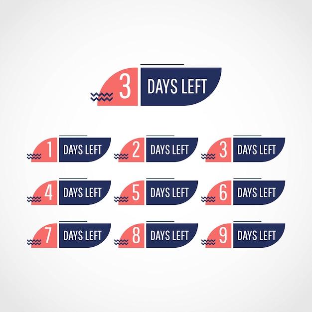 Set days left tag set Premium Vector