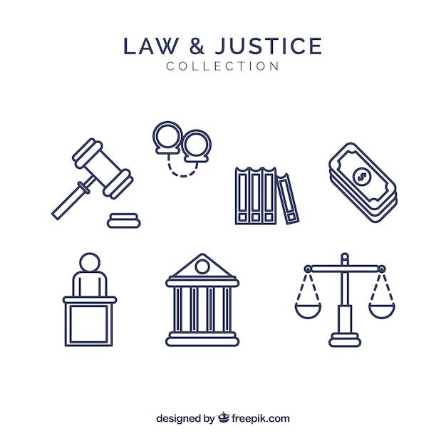 Набор элементов для дома и юстиции Бесплатные векторы