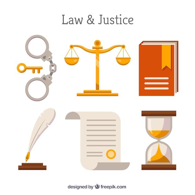 Set de elementos de derecho y justicia Free Vector
