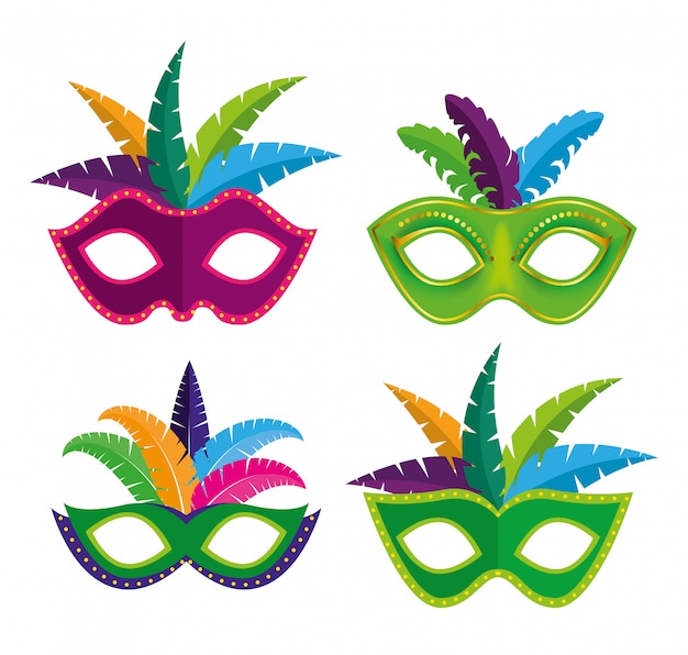 Set decoration of mardi gras festival Free Vector