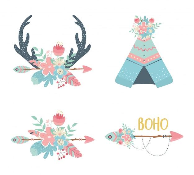 Set of decorations boho style Premium Vector