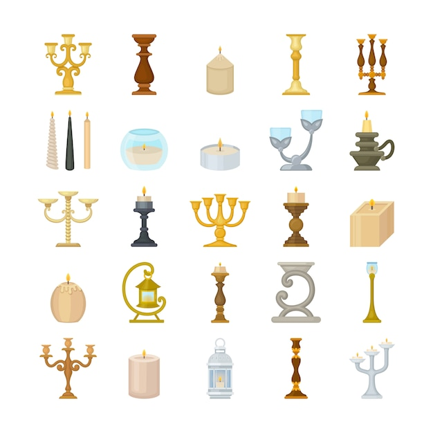 Set of decorative candlesticks and wax candles. Premium Vector