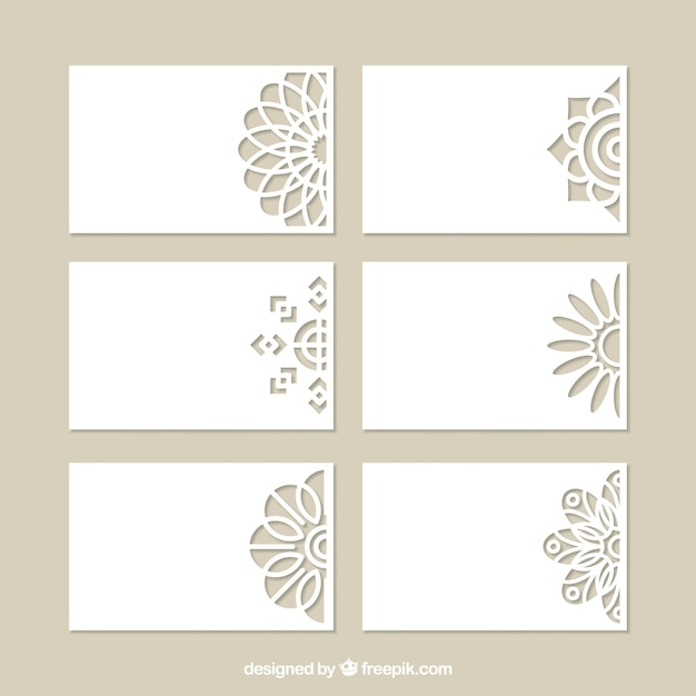 Set of decorative cards with laser cut Free Vector