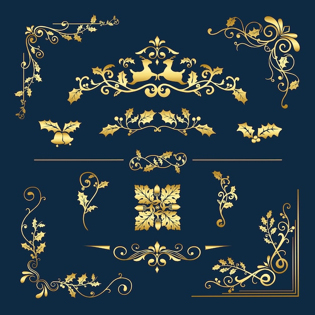 Set of decorative christmas designs for cards vector Free Vector