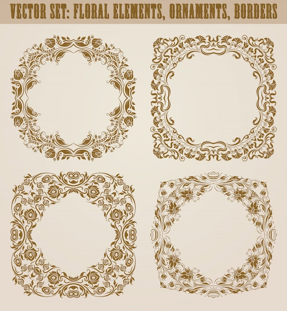 Set of decorative hand drawn elements, border, frame with floral elements for design. page decoration in vintage style Premium Vector
