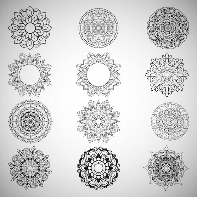 Set of decorative mandalas Free Vector