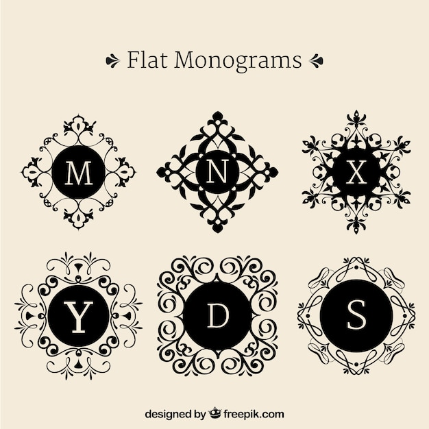 Set of decorative monograms in flat design Free Vector