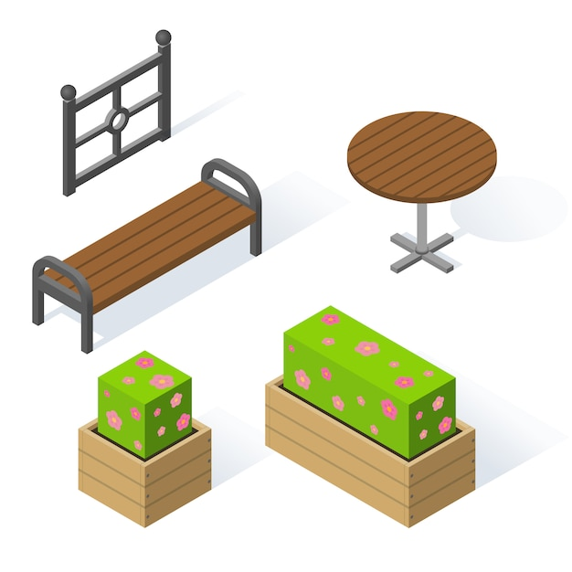 Set of decorative objects for the park Premium Vector